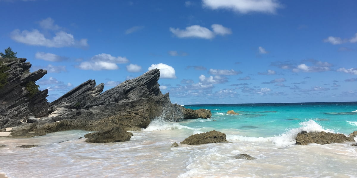 View of rocks and surf at Horseshoe Bay Beach Bermuda