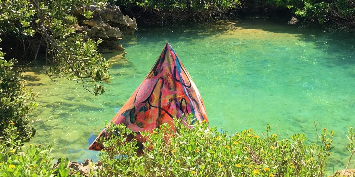 Art installation in Blue Hole, Tom Moore's Jungle Bermuda