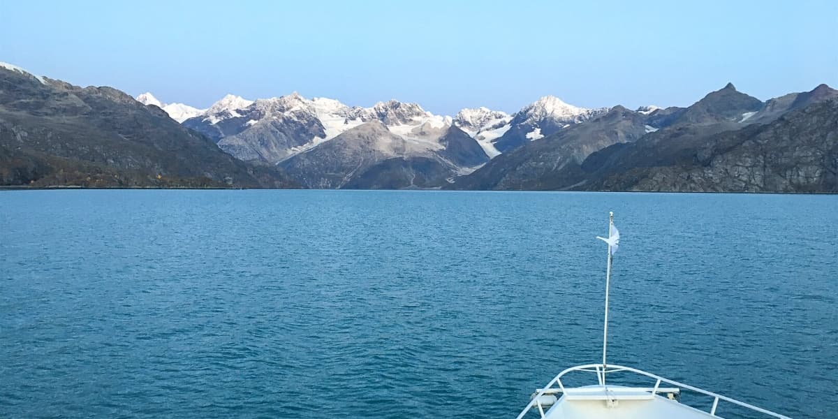 a view of Glacier bay and mountains in Alaska from an UnCruise ship