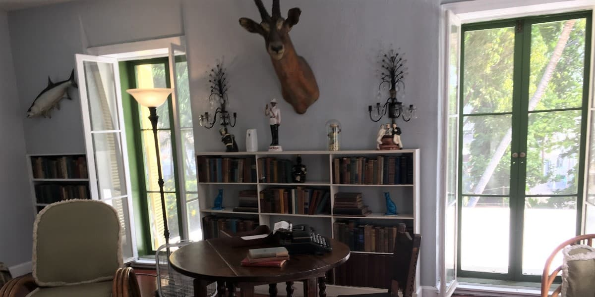 A view of Ernest Hemingway's writing studio in Key West, Florida