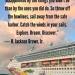 """""""Twenty years from now you will be more disappointed by the things you didn't do than by the ones you did do. So throw off the bowlines, sail away from the safe harbor. Catch the winds in your sails. Explore. Dream. Discover."""" - H. Jackson Brown, Jr."""