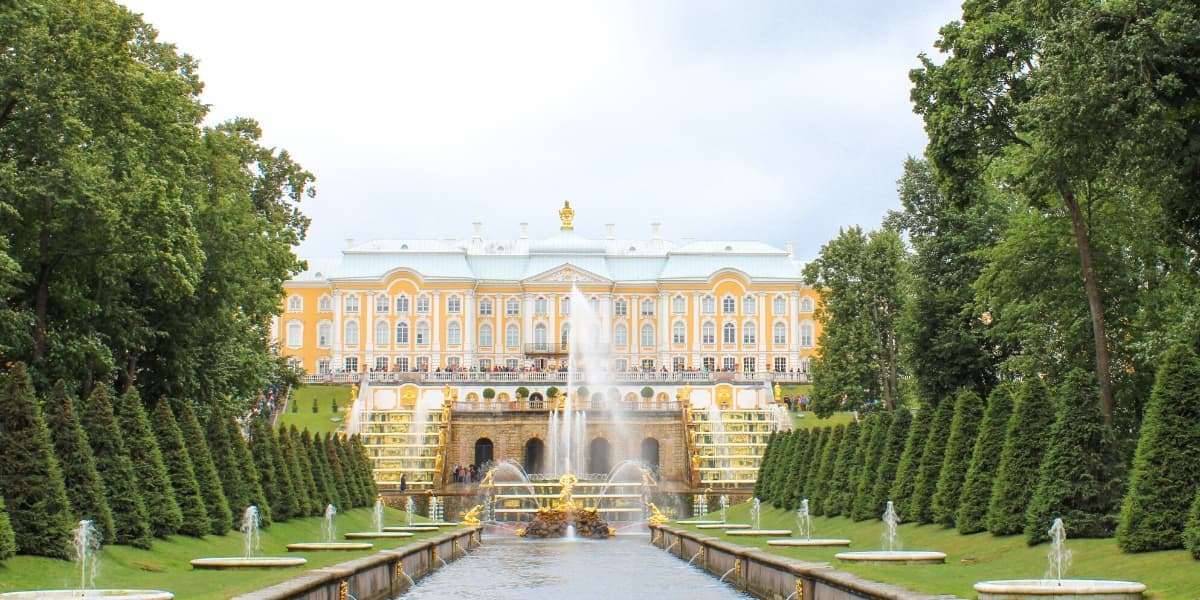 view of Peterhof Palace from canal
