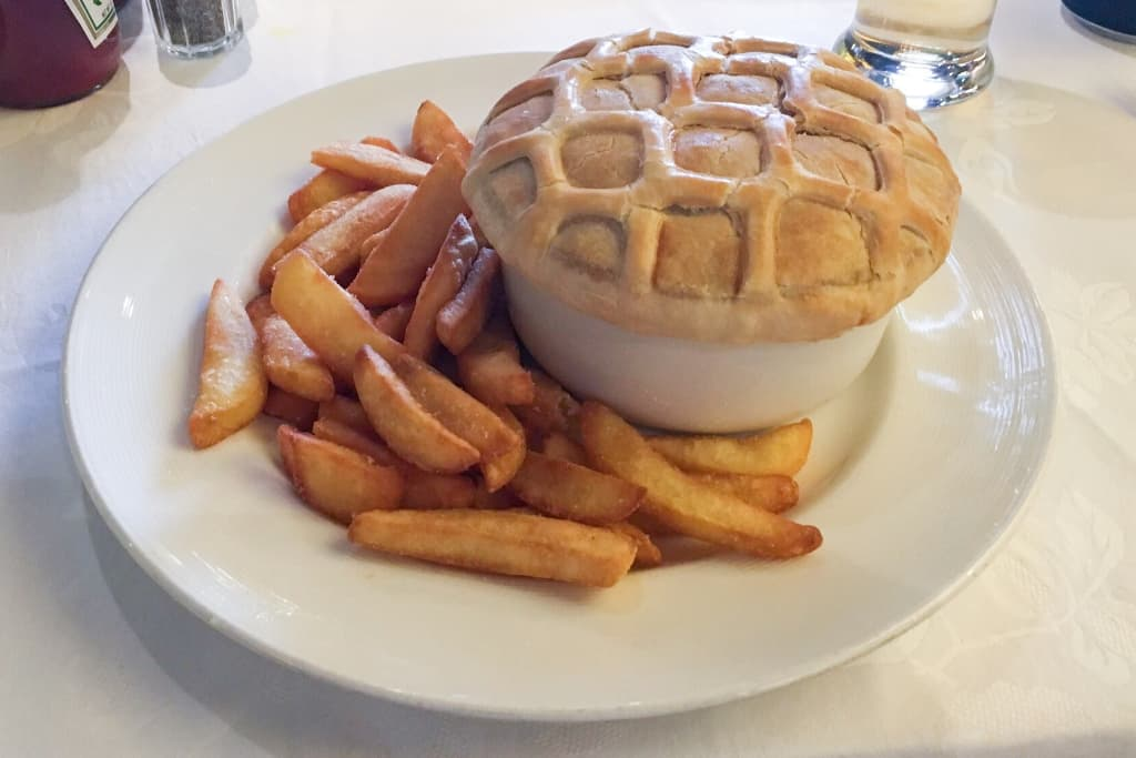 Princess Cruises Pub Lunch Steak and Kidney Pie with fries