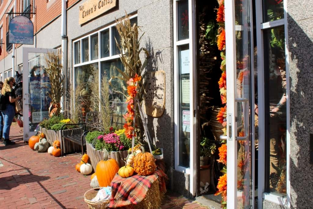 downtown shops decorated for fall in Salem MA