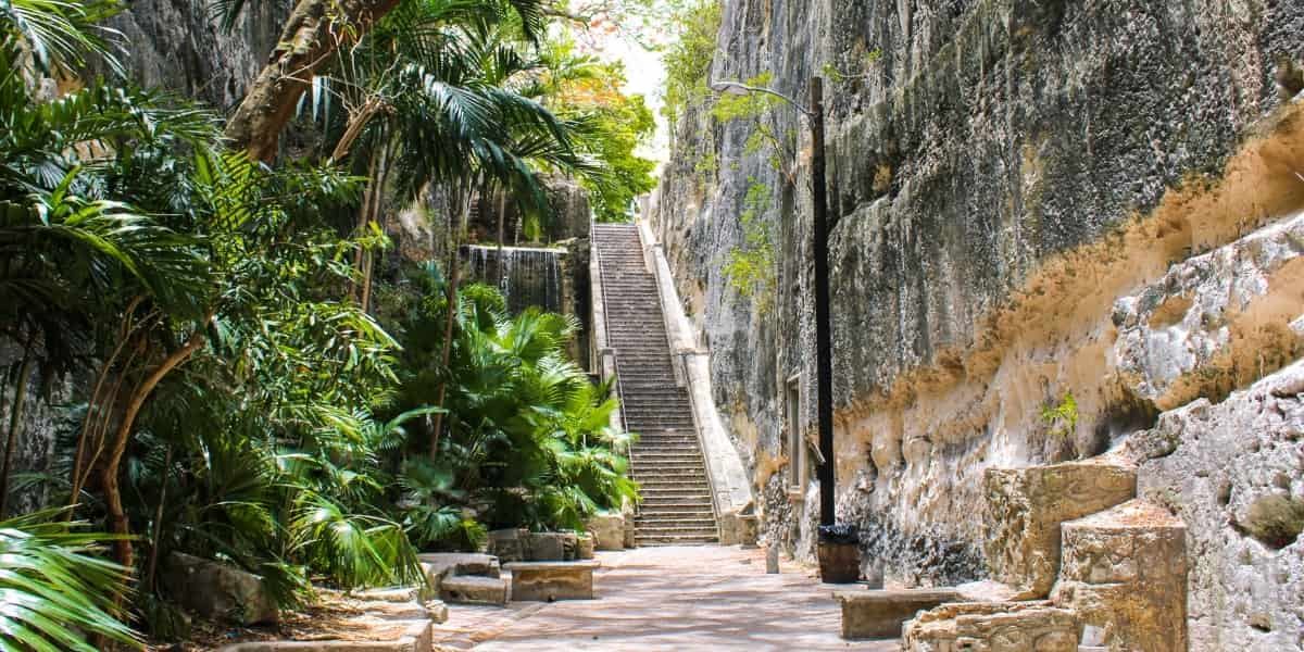 view of the Queen's Staircase, Nassau Bahamas