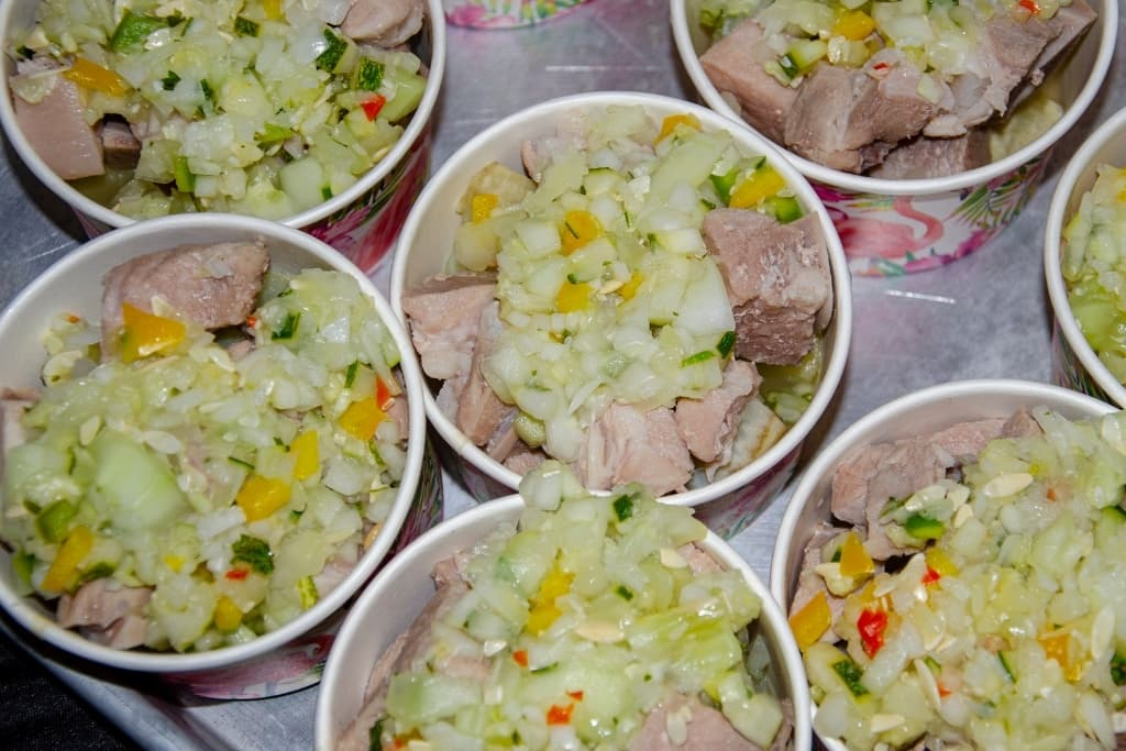 bowls of traditional Bahamian chicken souse