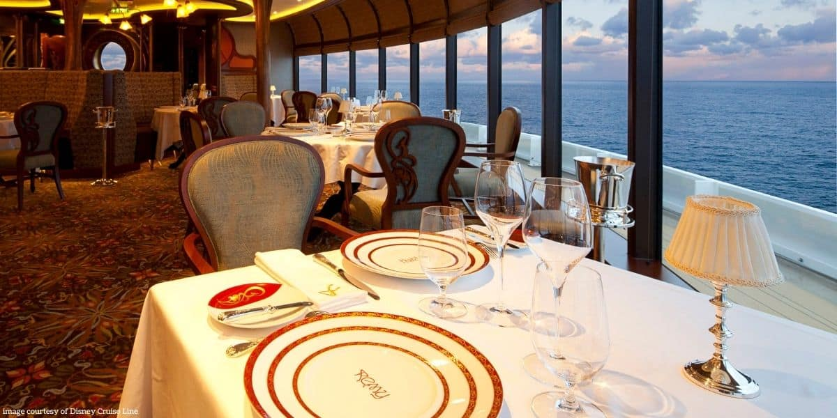 Dining on Disney Cruise Line: a dining table at Remy