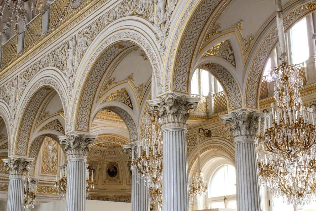 Gilt Columns and Chandeliers at the Hermitage St. Petersburg Russia