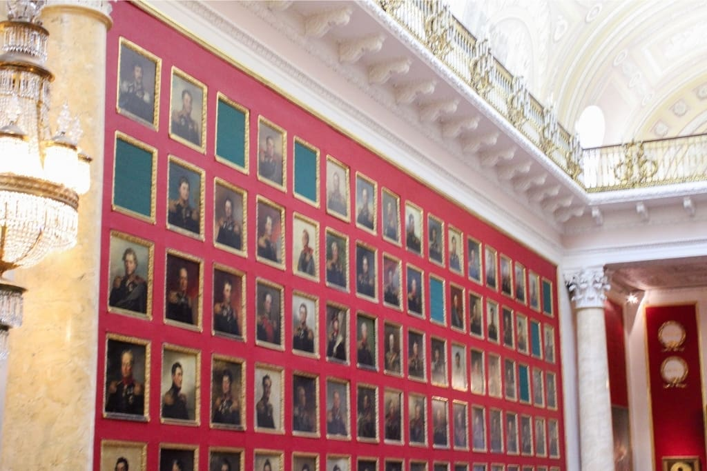 image of the portrait gallery of heroes at the Hermitage, St. Petersburg Russia